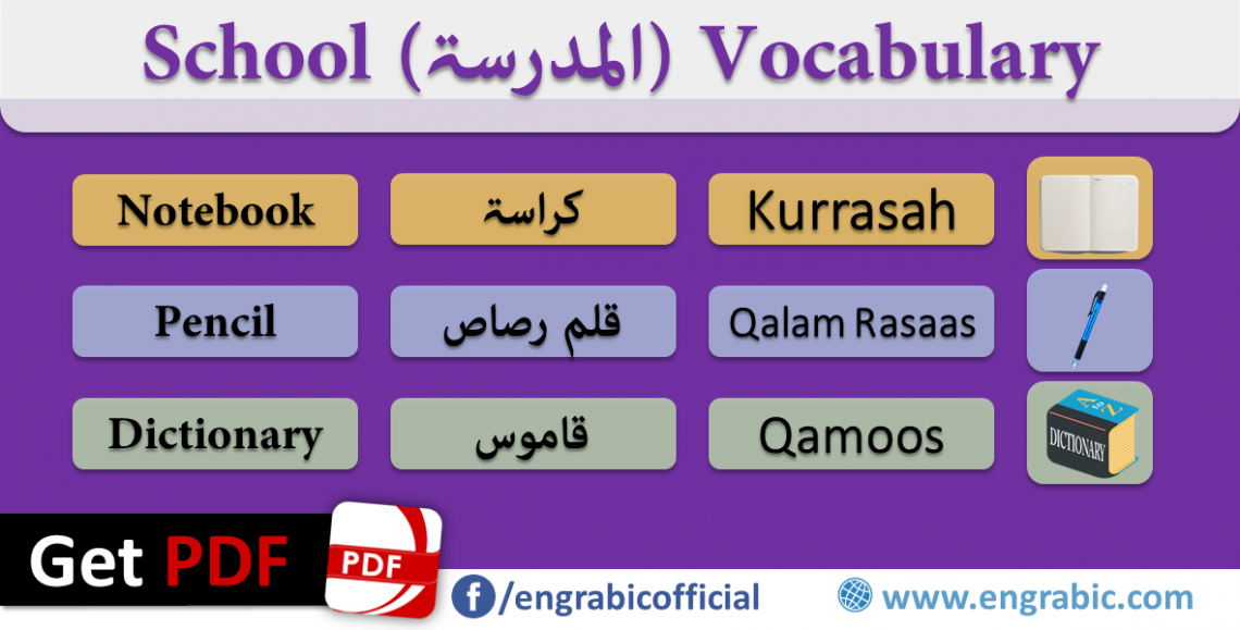 School Vocabulary in Arabic and English covers education and School Vocabulary with PDF for free.