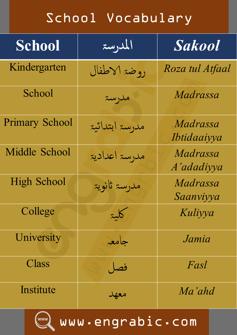 School Vocabulary in Arabic-English.Daily used vocabulary of both English-Arabic. Commonly spoken vocabulary words of Arabic.