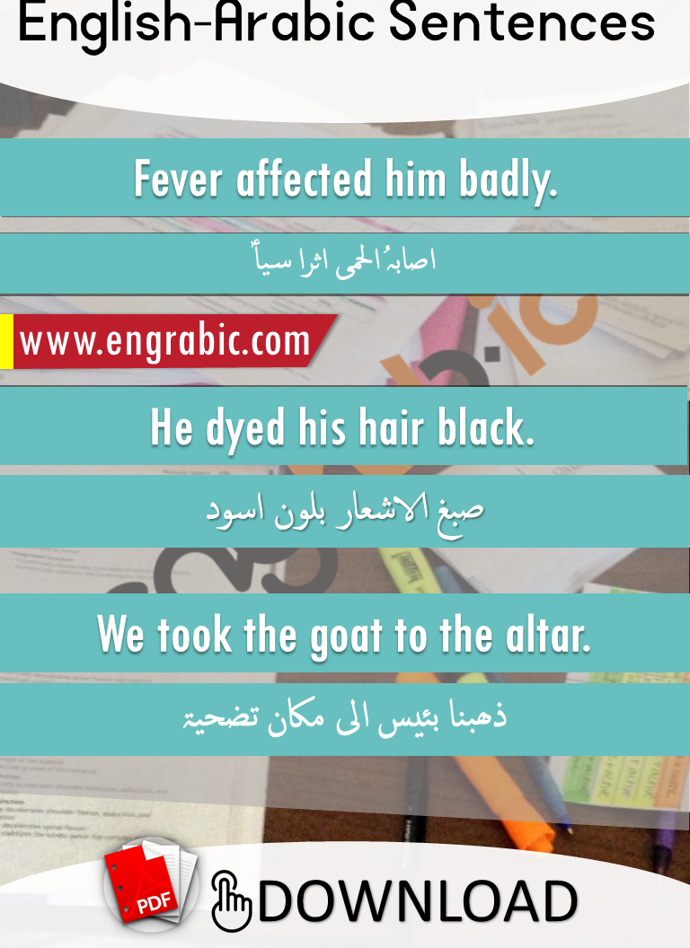 Formal Arabic Sentences in English. Commonly spoken English sentences with Arabic. Arabic to English translation with PDF.