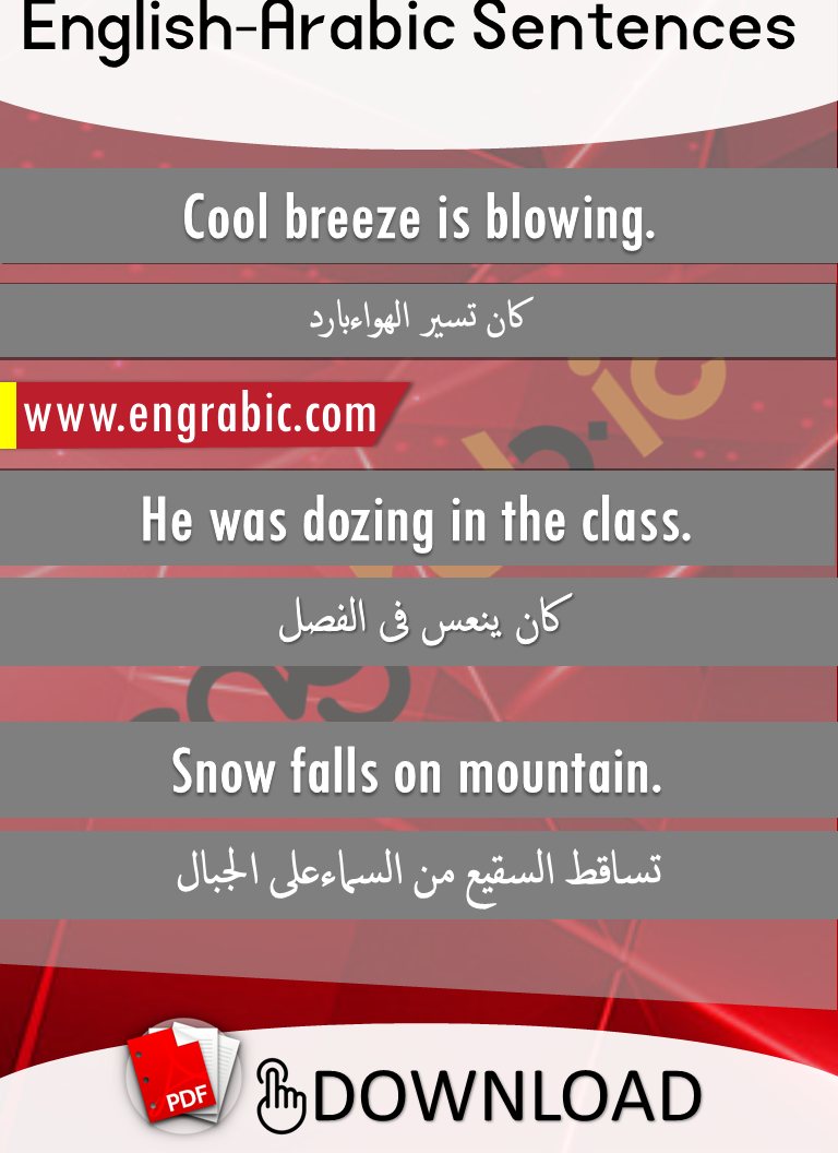 Formal English sentences in Arabic, Formal Arabic sentences with English. English to Arabic sentences with translation in HIndi.