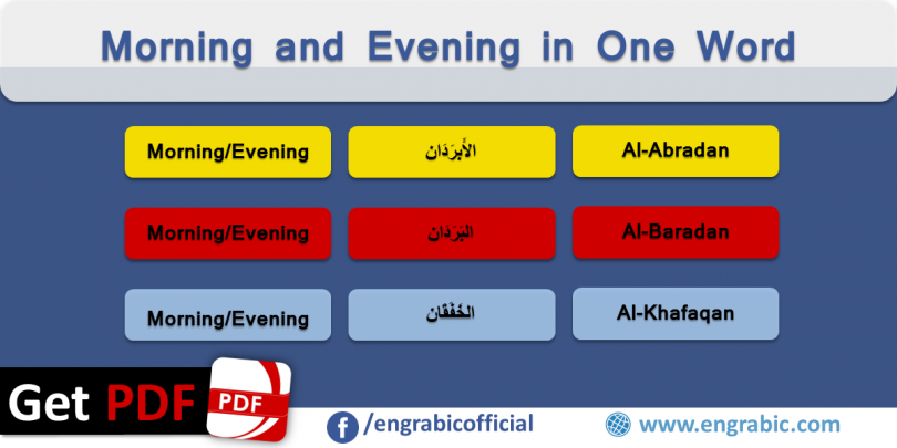 Morning and Evening in One Word. Different names of morning and Evening. Arabic names of morning and evening