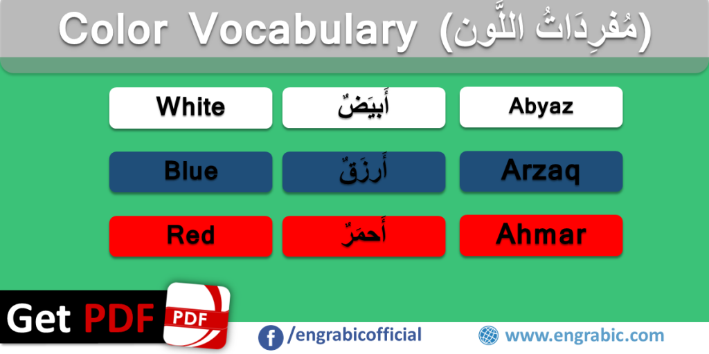 English and Arabic Color Vocabulary | Learn Colors in Arabic