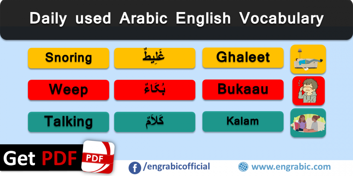 Arabic words and their meanings in English for beginners. Important Arabic words with English meanings for daily use. A list of commonly used Arabic words with English meanings. Learn Arabic vocabulary as vocabulary builder.