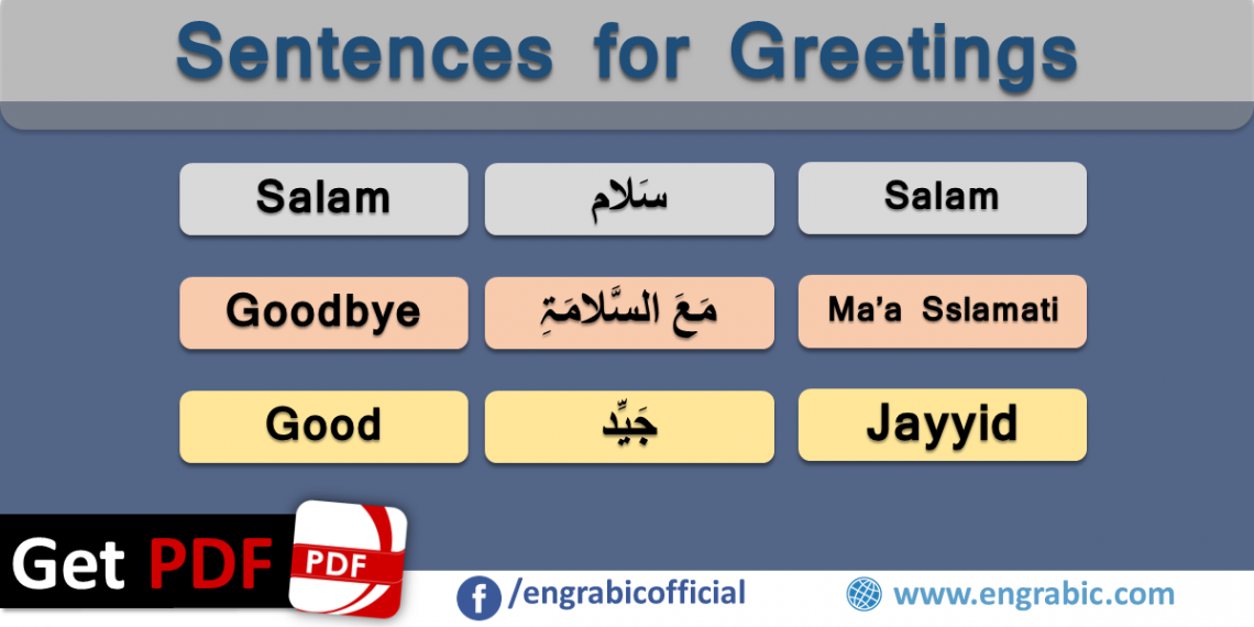 Arabic Sentences for Greetings with English Translation. Basic complimentary sentences in Arabic. A collection of useful sentences with modern standard Arabic. When travelling in Arabic Speaking countries, you will find that the words and phrases you use most frequently will be the common Arabic Sentences for Greetings. Arabic Sentences for conversation in Arabic countries.