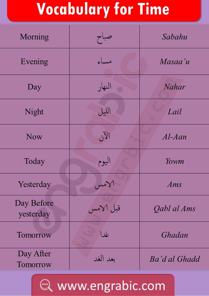 Arabic and English vocabulary for time. Vocabulary of Time in Arabic and English. Learn Arabic vocabulary topics to be a good learner. Arabic vocabulary topics for Arabic learning. Improve your Arabic through Arabic vocabulary.