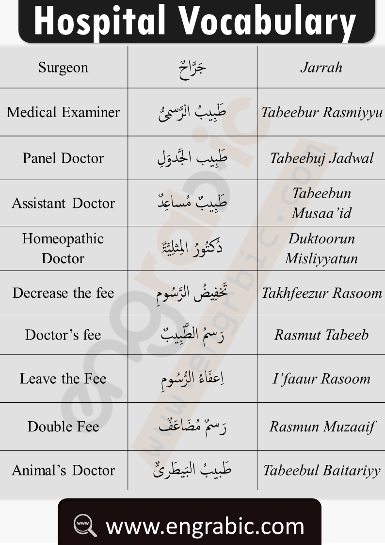 Arabic hospital vocabulary and medical terms in English. Arabic vocabulary for hospital. Health and medicine vocabulary list in Arabic and English. Arabic words related to the hospital and medicine. Study the vocabulary of Hospital in Arabic and English. Learn the crucial Arabic words and phrases which can help you in Emergency. Common Arabic words used in hospital. Arabic words for healthcare professionals. Learn pharmacy in Arabic. medicine in Arabic and translate medical terms from Arabic to English.