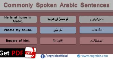 Spoken Arabic Sentences with English Urdu. Spoken Arabic Phrases with translation in English and Urdu with PDF. Learn Arabic through these sentences with meanings in English and Urdu. Arabic Sentences for Spoken English and Urdu with PDF. Learn Arabic for FREE. Learn short Arabic Expressions in English and Urdu if you wan to have a basic conversation in Arabic and English. A collection of useful phrases in Modern Standard Arabic.