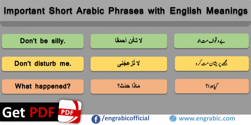 Important Short Arabic Phrases in English/Urdu. Arabic to English phrases with translation in English and Urdu. Learn Urdu and English at the same time through Arabic. Arabic and English learning made easy. Arabic sentences with English and Urdu translation. Arabic Phrases for Spoken English and Urdu. Basic Arabic Phrases for conversation in Arabic Countries. Basic Conversational Phrases to start dialogue with Arabic Speakers.