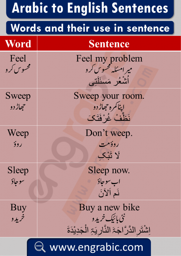 Arabic word meaning in English with sentences