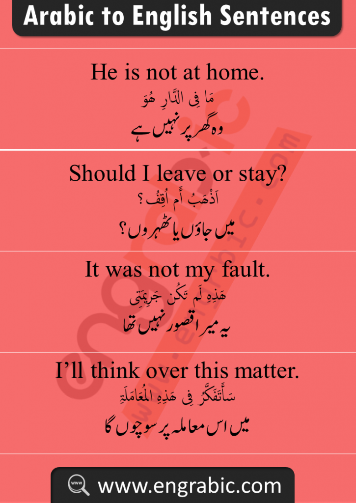 Daily Spoken Arabic English Phrases in Urdu