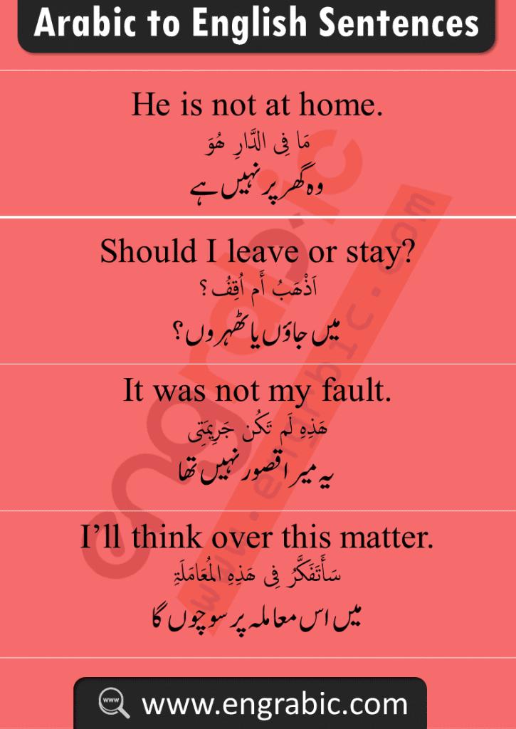 Daily Spoken Arabic English Phrases in Urdu