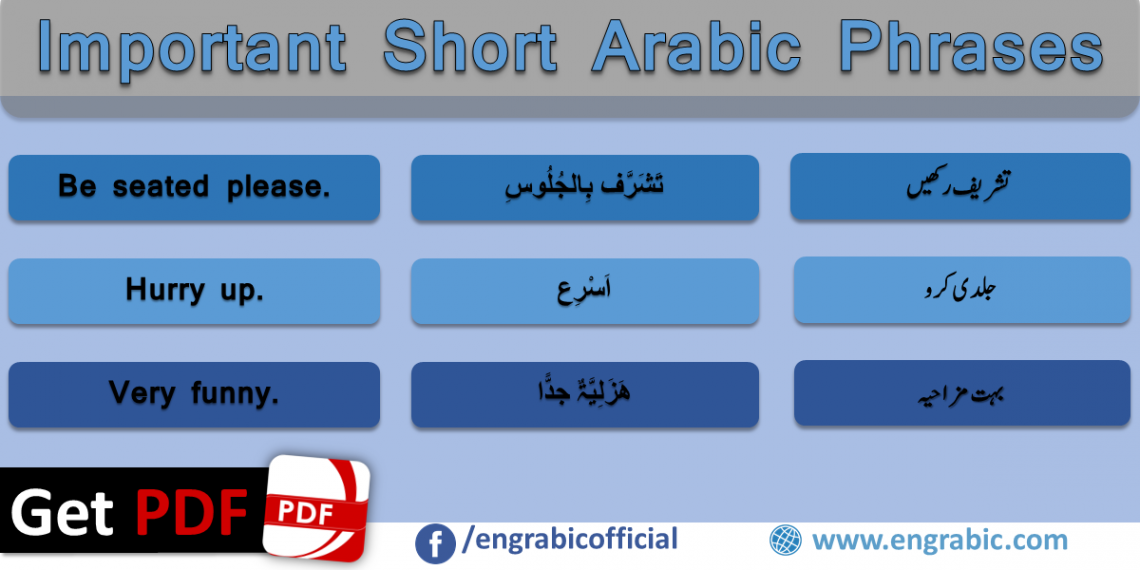 Arabic to English Phrases with Meanings in Urdu. Short Arabic Phrases with translation in Urdu. Learn Arabic through English and Urdu. Frequently used Arabic sentences in daily life. Sentences for spoken Arabic and English. Arabic Sentences for Spoken English and Urdu. Commonly spoken Arabic to English Sentences. Arabic to Urdu sentences used in daily life. Daily life short spoken Arabic phrases.