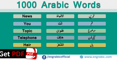 1000 most common Arabic Words in English. A list of Most commonly spoken Arabic Words in English and Urdu. A list of 1000 core Arabic Words with pronunciation in English and Urdu. Top Arabic Words you definitely need to learn to have basic idea of Arabic Language. 1000 Arabic Words Vocabulary necessary to learn as you know vocabulary is the key to unlocking fluency. One of the easiest ways to master the Arabic Script - these are he top words used. 1000 Most Common Arabic Words in English with PDF.
