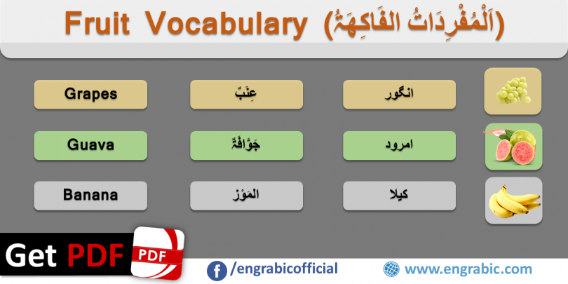 List of fruits in Arabic. Arabic Fruit Vocabulary. Vocabulary of fruits for the beginners to build strong base of Arabic. One of the mostly used Arabic Vocabularies is Fruit Vocabulary. Learn the names of fruits in Arabic with Pronunciation. A comprehensive list of Fruits for Summer and Winter.Today's lesson is about the names of fruits in Arabic.