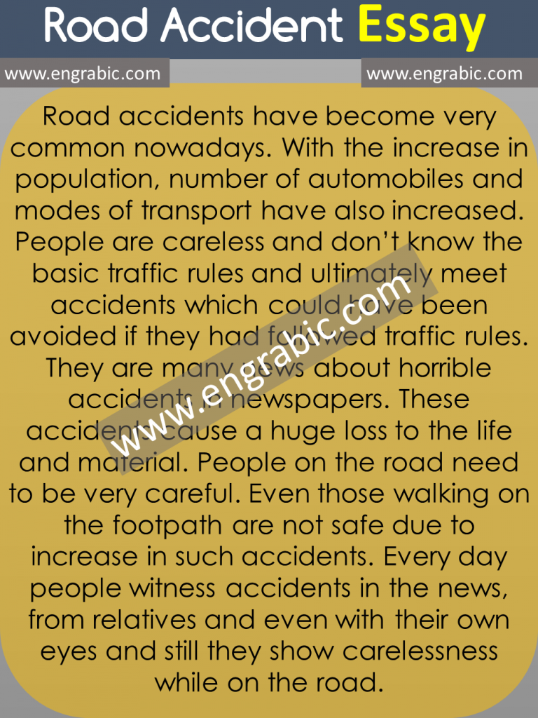 1000 Words Road Accident Essay for Class 5th, 8th, 9th, 10th, 2nd year for Students in English with Quotes. Learn Road Accident Essay for attaining highest marks.