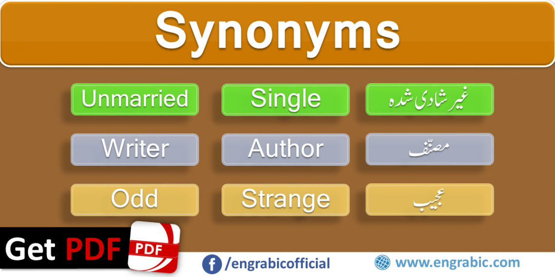 A synonym is a word or phrase that means exactly same or nearly same. Words that are synonyms are said to be Synonymous and the state of being synonym is called synonymy. Here is a list of 100 mostly used synonyms in daily life.