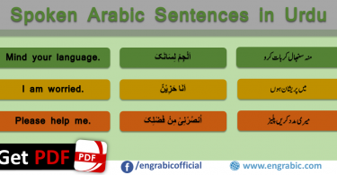 Spoken Arabic in Urdu with Translation in English. Arabic sentences for spoken English and Urdu. Arabic Sentences with translation in English and Urdu. Sentences helpful in learning Arabic, English and Urdu for the beginners. Learn Arabic through English and Urdu with effective translation skills. Learn how to translate Arabic Sentences into Urdu and English. Arabic Sentences with PDF.