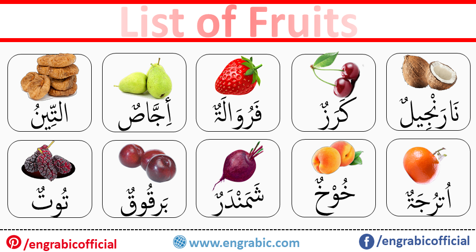 List of Fruits in Arabic, English and Urdu Vocabulary. Learn Fruits Names in Arabic language for the beginners to build strong base of Arabic. One of the mostly used Arabic Vocabularies is Fruit Vocabulary. Learn the names of fruits in Arabic with Pronunciation. A comprehensive list of Fruits for Summer and Winter.Today's lesson is about the names of fruits in Arabic.