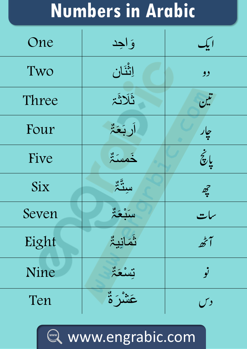 Number in Arabic urdu and English