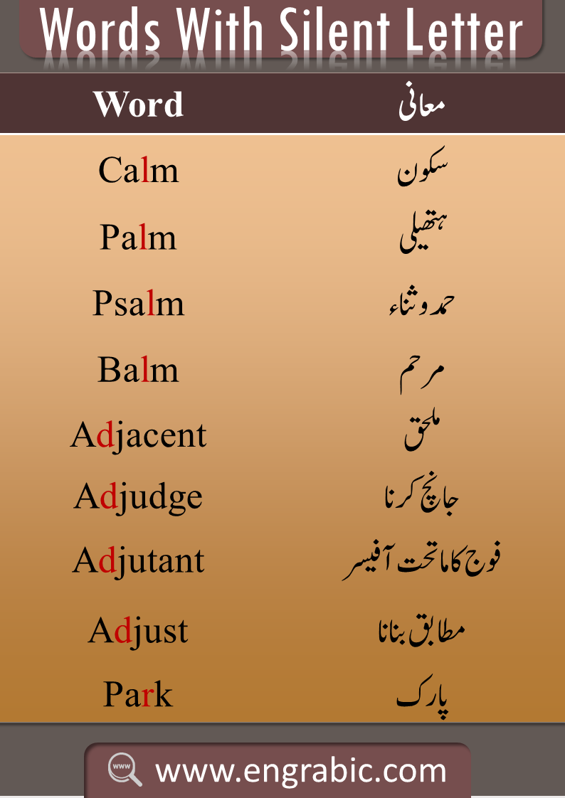 Silent Letterslist with Urdu meanings. Learn thelist of Silent Wordswith meanings in Urdu. English language has a lot of Silent Letters which create difficulty for both Native and Non-Speaker, but don't worry, here you will learn the all the Silent Letters with pronunciation. Here is theList of All the Silent Lettersof English. Full list of Silent Letters from A to Z is given here.