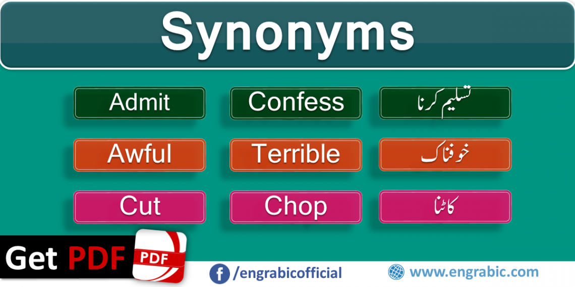 Asynonym is a word or phrase that means exactly same or nearly same. Words that are synonyms are said to beSynonymousand the state of being synonym is calledsynonymy. Here is a list of 100 mostly used synonyms in daily life. Synonyms in English which we commonly use in our daily life. Beautiful Synonyms Words with Urdu Translation.