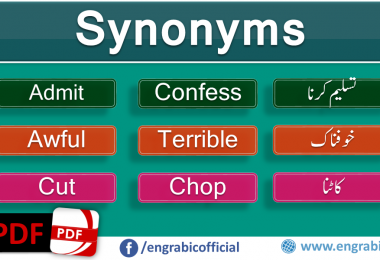 A synonym is a word or phrase that means exactly same or nearly same.  Words that are synonyms are said to be Synonymous and the state of being synonym is called synonymy. Here is a list of 100 mostly used synonyms in daily life. Synonyms in English which we commonly use in our daily life. Beautiful Synonyms Words with Urdu Translation.