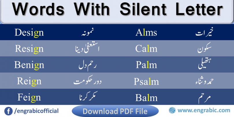 Silent Letters list with Urdu meanings. Learn the list of Silent Words with meanings in Urdu. English language has a lot of Silent Letters which create difficulty for both Native and Non-Speaker, but don't worry, here you will learn the all the Silent Letters with pronunciation. Here is the List of All the Silent Letters of English.  Full list of Silent Letters from A to Z is given here.