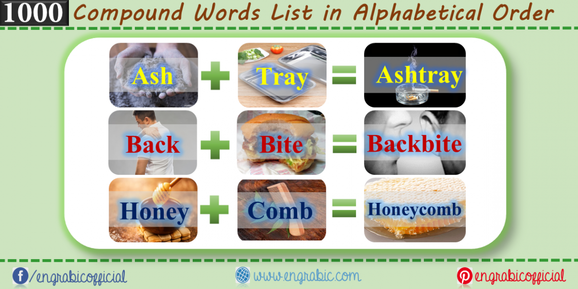 """What are the Compound Words? These are the words which are created when two words get joined to form a new word which has completely different meaning.                  For Example, """"Honey"""" and """"Comb"""" are two different words, but when joined, they form another word """"Honeycomb"""" .                          Here is a list of almost 1000 Compound Words in alphabetical order. These compound words are formed when two single words combine. Combination of two single word gives Compound Word. Find the most important and Unique Compound Words Here. 1000 examples of Compound Words."""