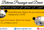 Short Conversational Dialogues. Mini dialogue between driver and passenger. Driver and passenger dialogue. English dialogue between a passenger and a taxi driver with translation in Urdu. Phrases that a taxi driver can use with English-Speaking passengers. Dialogue writing between driver and passenger. Passenger and taxi driver conversation on the road