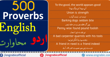 This is a list of popular English Urdu Proverbs. Proverbs are also known as Sayings. Proverbs give some of the life advice. Every language and culture has them, so does English and Urdu. A proverb (from Latin: proverbium) is a simple, concrete, traditional saying that expresses a perceived truth based on common sense or experience. The following examples of proverbs help you to understand what a proverb is and what role it plays in society. 500 most Common English Urdu Proverbs are there in the list.