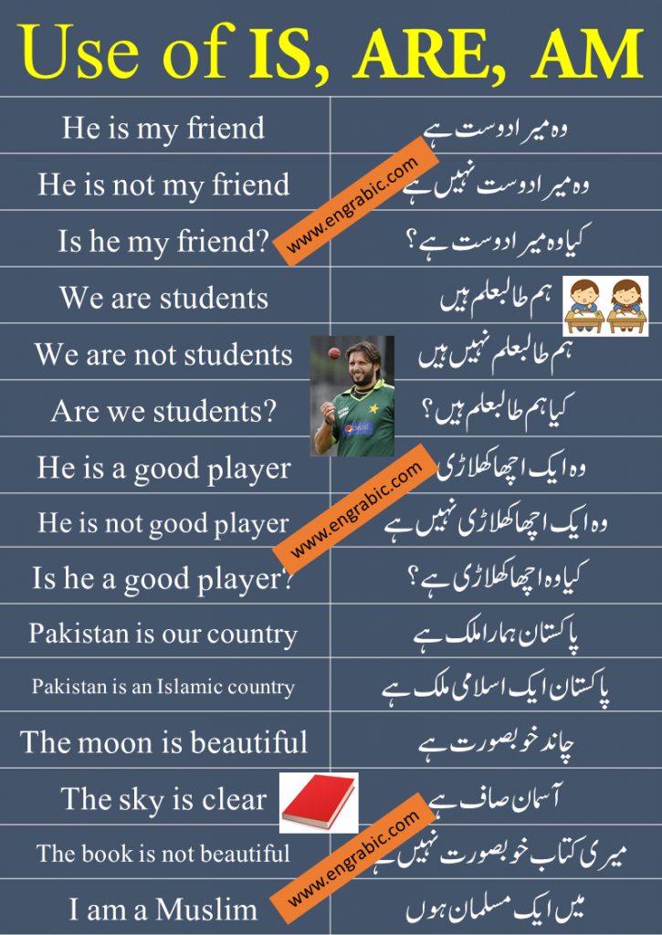 Is am Are are used as verb in the Sentences which end on ہے،ہوں،ہیں. These are Used as: He, She, It, Single Noun IS I AM We, You, They, Plural Noun ARE Useiswhen the subject is a singular noun or a third person singular pronoun. Usearewhen the subject is a plural noun or a plural pronoun (e.g. we, you, they). Useamwhen the subject is the first person pronoun I.