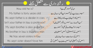 Some important sentences about Family Relationships. Real life family relationship sentences in Urdu translation.