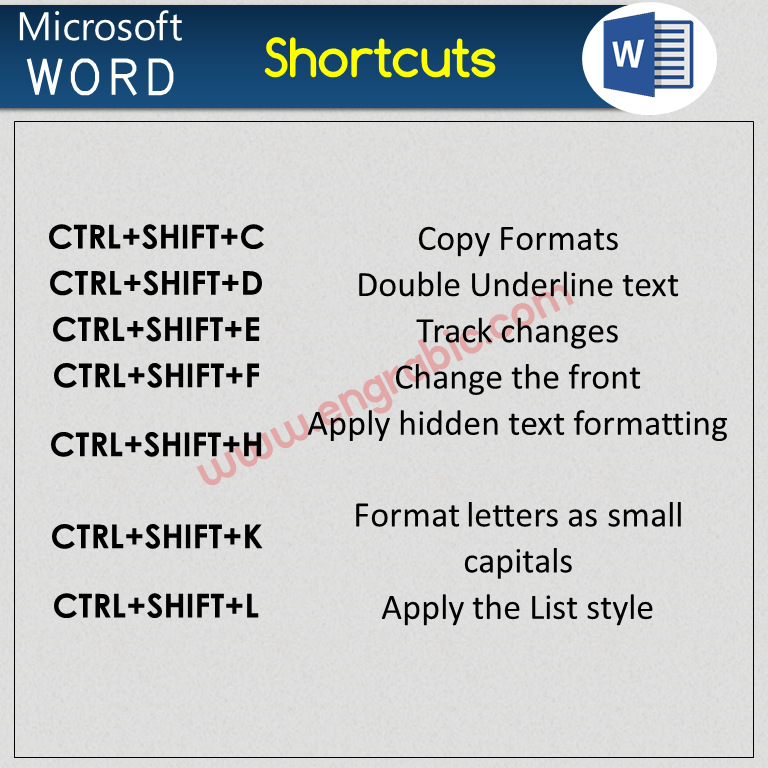Here is a list of commonly usedshortcut keys to MS Officethat can provide an easier and quicker access. In Windows,MSWord uses the Ctrl key along with another alphabet key forshortcuts. Most useful Microsoft Officeshortcut keysit's useful for all works.Shortcut keysinMS Office