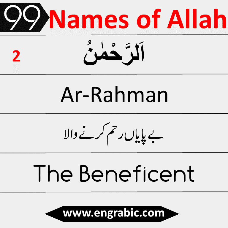 "In Islam Allah is believed to have 99 Names, known as the 99 Names of Allah ʾasmāʾu llāhi l-ḥusnā (Arabic: أسماء الله الحسنى‎ Beautiful Names of Allah) They are also called 99 Attributes of Allah. The meaning of the names differs among interpretations.  ""Abu Hurairah(RA) reported that Allah has ninety-nine Names, i.e., one hundred minus one, and whoever believes in their meanings and acts accordingly, will enter Paradise: and Allah is witr (one) and loves 'the witr' (i.e., odd numbers).""  — Sahih Bukhari, Vol. 8, Book 75, Hadith 419.  Allah's Messenger (ﷺ) said, ""Allah has ninety-nine Names, one-hundred less one; and he who memorized them all by heart will enter Paradise.""  — Sahih Bukhari, Vol. 9, Book 93, Hadith 489."