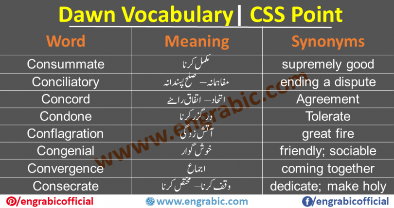 """CSS Vocabulary PDF List with Urdu Meanings Learn important CSS and PMS Vocabulary with Urdu meanings and their type. This vocabulary list contains most repeated words in exams. Download CSS Notes for CSS Compulsory Subject """"English (Precis & Composition)"""". IMPORTANTCSS VOCABULARY. Thevocabularywill include thewords from dawn newspaper along with their meanings which will save a lot of time of the aspirants. CSS vocabulary and grammar basics. Gre vocabulary for CSS. Dawn newspaper vocabulary list pdf. English vocabulary words for cuss pdf."""