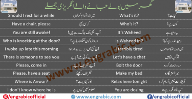 At home. Here are some English phrases that may be helpful around the house, including some phrases you can use at mealtimes. Daily English conversation for kids to be used around the house describing common everyday concepts such as eating, playing, tidying up and going to bed.