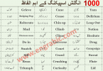 Basic English Vocabulary Words in Urdu 2000 Urdu Words these are most important Urdu English Words with high demand and used in daily life English speaking. List of Beginners English Words with Urdu meanings and Pronunciation (talafuz) to improve your spoken English skills.