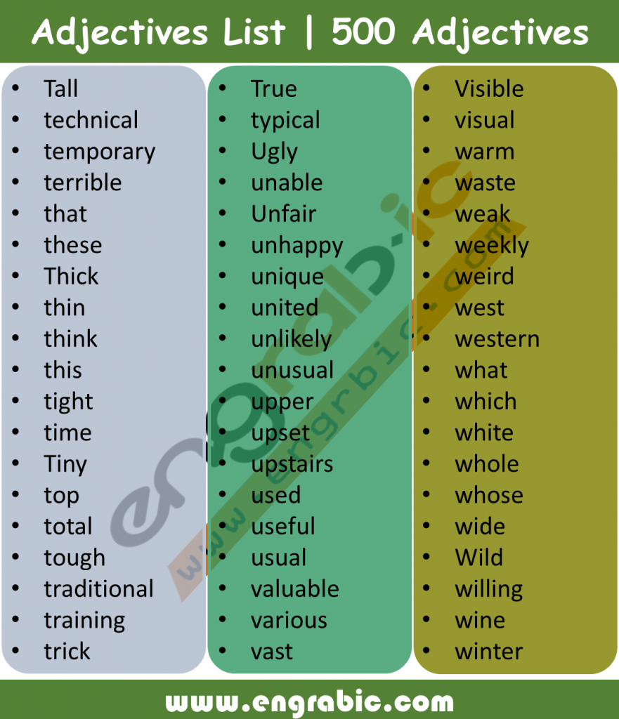 An adjective is a word that modifies a noun or noun phrase or describes its referent. Its semantic role is to change information given by the noun. Adjectives are one of the main parts of speech of the English language, although historically they were classed together with nouns. Here is alphabetical list of 500 Adjectives.