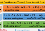 There are 12 Basic English Tenses ; Present simple Tense, Present Continuous Tense, Present Perfect Tense, Present Perfect Continuous Tense, Past Simple Tense, Past Continuous Tense, Past Perfect Tense, Past Perfect Continuous Tense, Future Simple Tense, Future Continuous, Future Perfect Tense, Future Perfect Continuous Tense. Here is discussed every Tense with Examples and Structures. Learn Tenses in English with detailed discussion of structures.