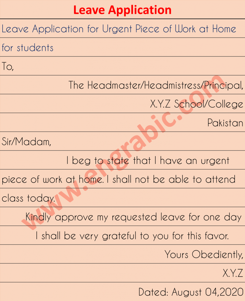 Application for Urgent piece of work at home, school or anywhere else.