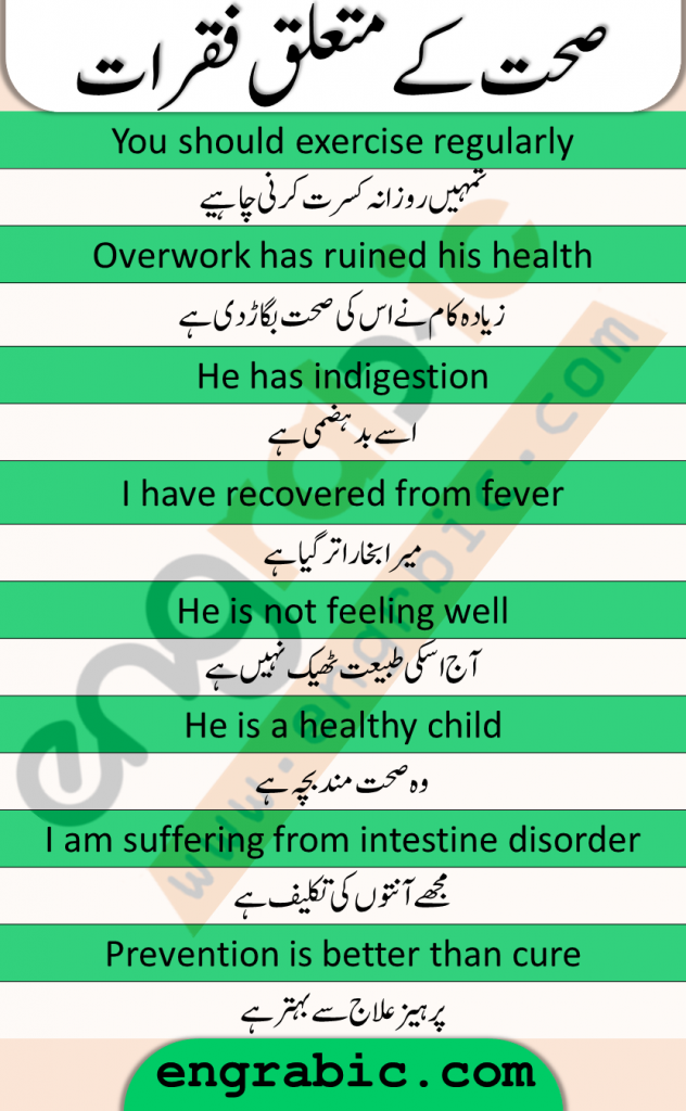 Sentences about health in English and Urdu. These sentences will help you talk in English whenever you have health topic. These sentences are useful for practicing English in your daily conversation about health. Spoken English Practice sentences. Learn these sentences and start talking in English from now.