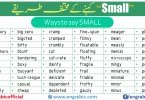 Small is an adjective. It is used to define the size of an object. For Example when we have to define something or we have to tell anyone about anything, we account for its size. Here approximately all different small synonymsare described with their examples.
