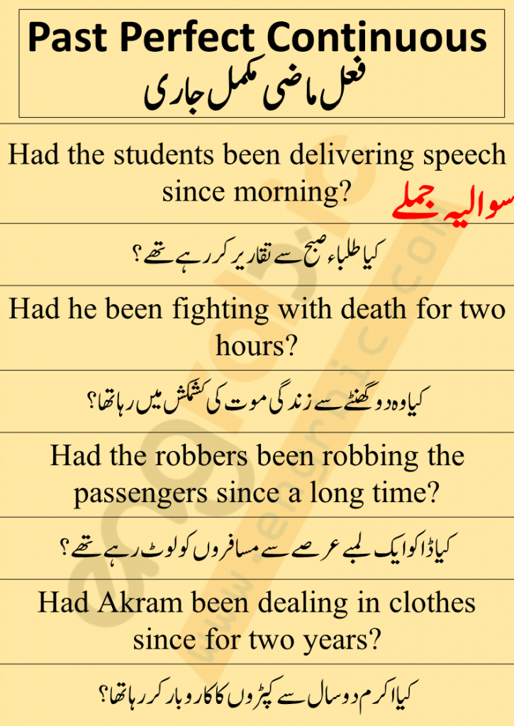 Interrogative Sentences are made by inverting subject and helping verbs. In interrogative sentences, helping verb is placed in the beginning of sentence. Whenever the helping verb is placed the subject, we would say that the sentence is Interrogative. Sentence structure of interrogative sentences of Past Perfect Continuous Tense is as follows: H.V + S + V1-ing + O + since/for + time
