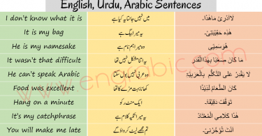 Arabic Sentences in English and Urdu for beginners. Learn Arabic through English and Urdu using these sentences. Learn Arabic through English and Urdu.
