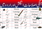 War vocabulary words list in English and Urdu. Vocabulary words used in War. Military terms in English and Urdu.
