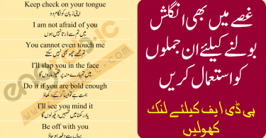 In this lesson, you will learn 40 English sentences with Urdu translation that you can use in Anger. These sentences will make you speak English in Anger. You can download PDF of this lesson at the bottom of Page.